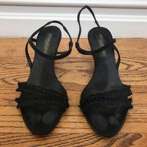 83f63efb25 Donna Karan Shoes - Donna Karan Black Ruffled Heel Sandals